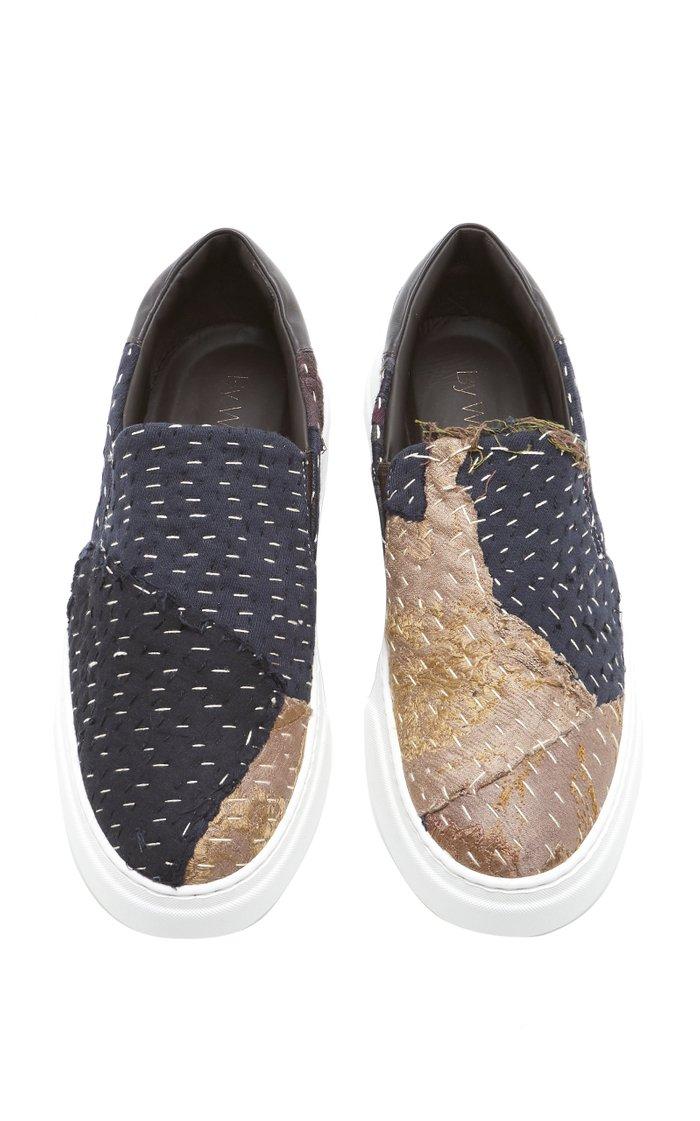 Embellished Slip-On Silk Sneakers