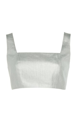 Operato Linen Cropped Bustier Top