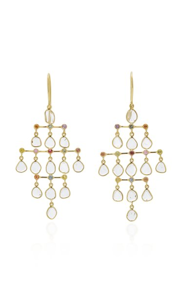 Polki 18K Gold, Diamond And Sapphire Earrings