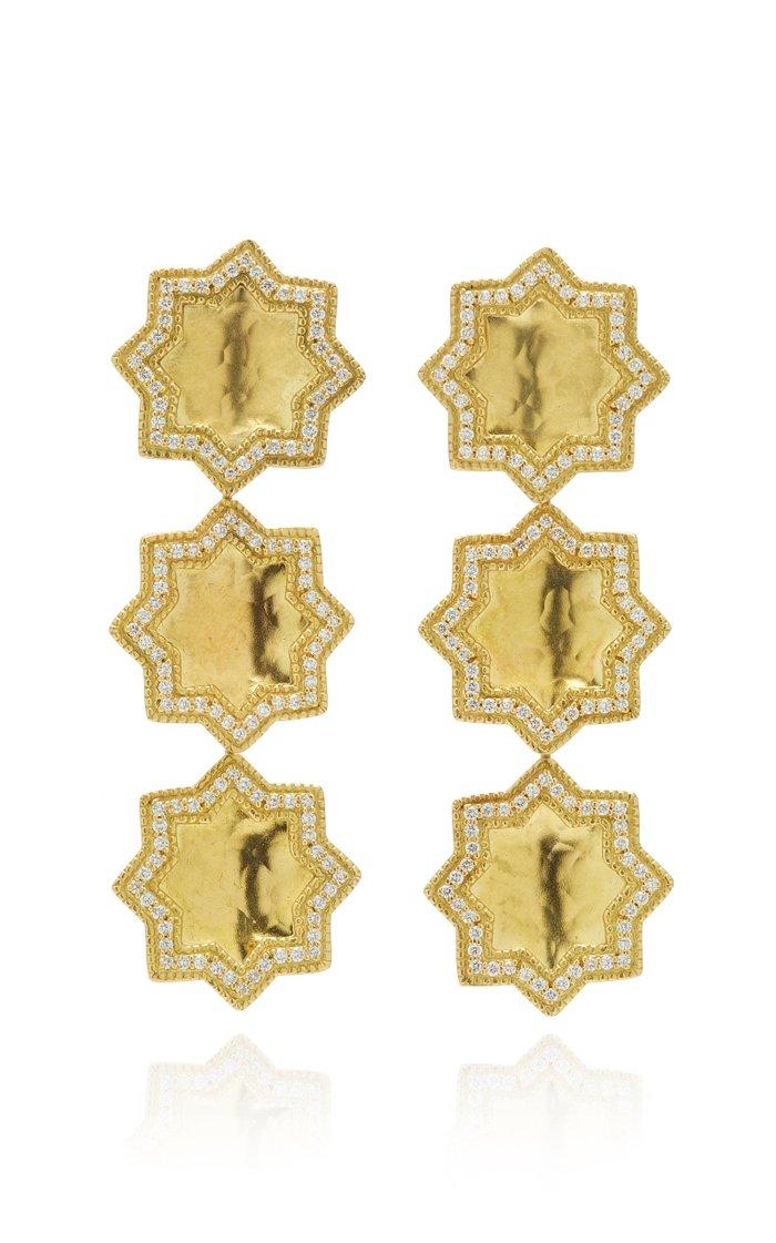 Triple Star 18K Gold And Diamond Earrings
