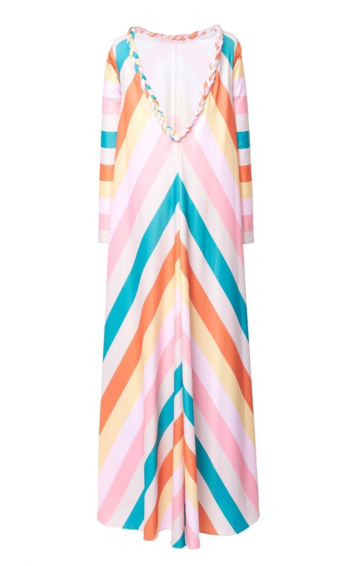 Gloria Striped Crepe De Chine Dress
