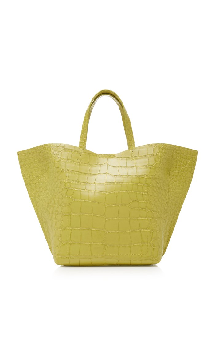 Croc Embossed Leather Shell Tote