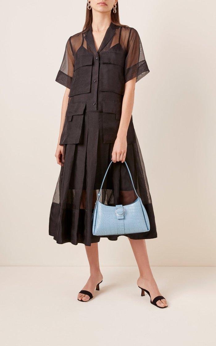 Lucite Croc-Embossed Leather Shoulder Bag