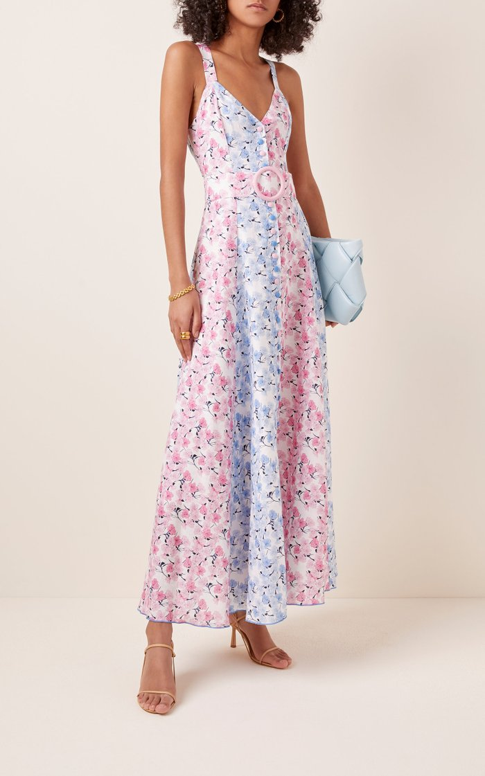 Printed Belted Floral-Print Maxi Dress