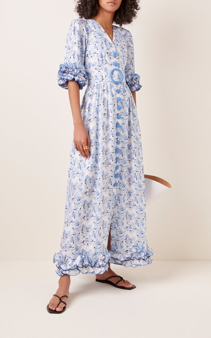 Belted Ruffled Floral-Print Linen Maxi Dress