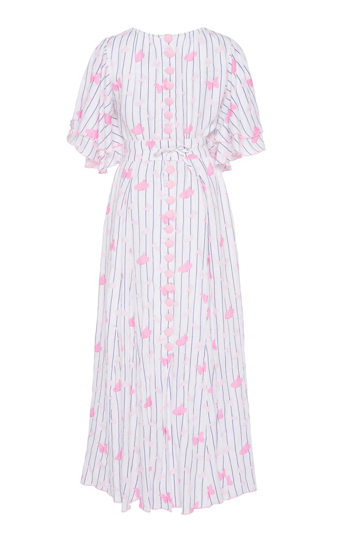 Belted Printed Linen Maxi Dress