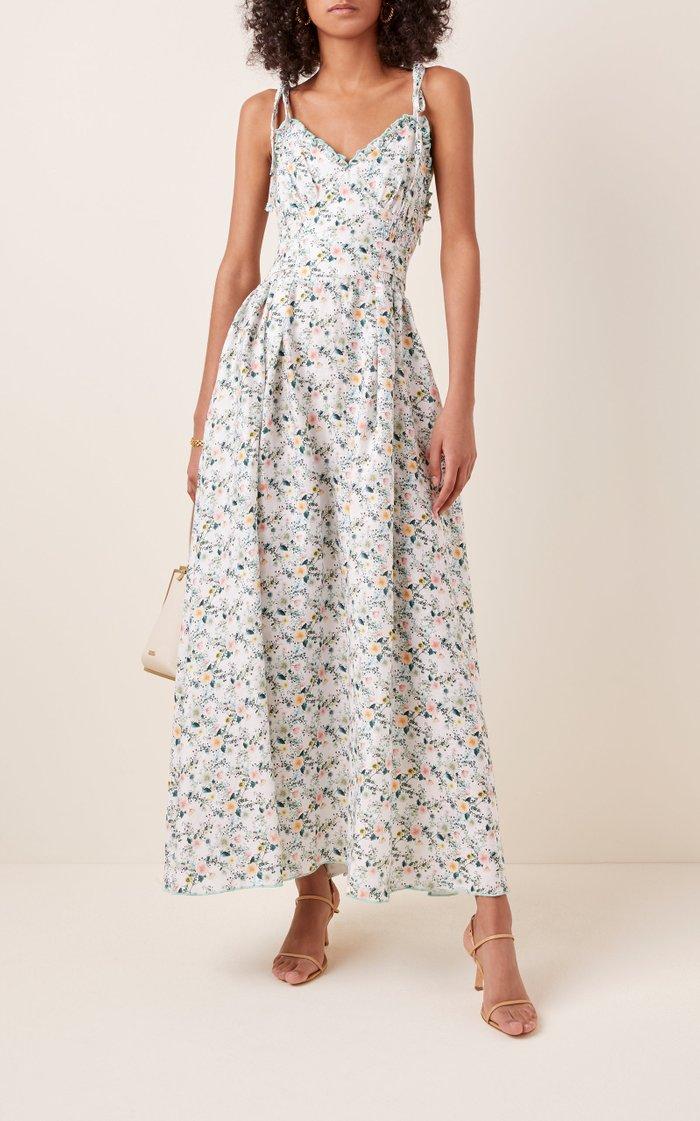 Floral-Print Linen Midi Dress