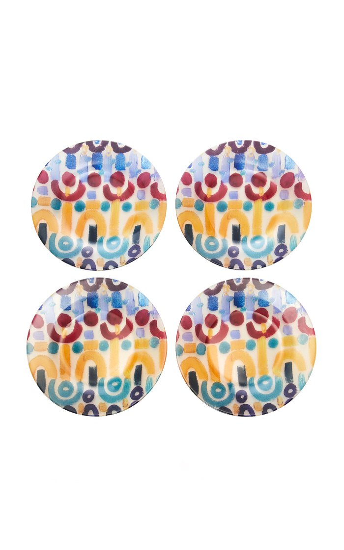 Set-of-4 Multi-Color Painted Glass Plates