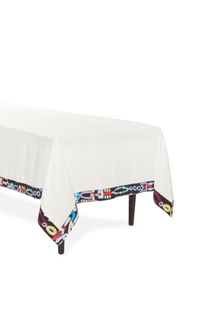 Abstract Trim Linen Tablecloth