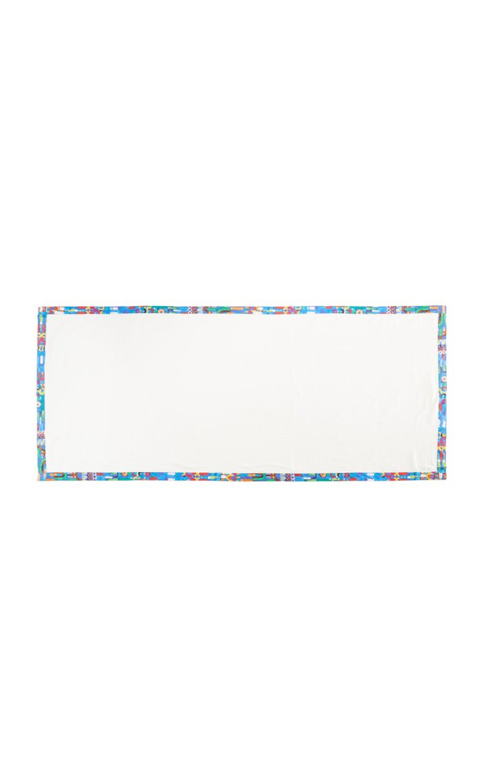 Abstract Blue Trim Linen Tablecloth