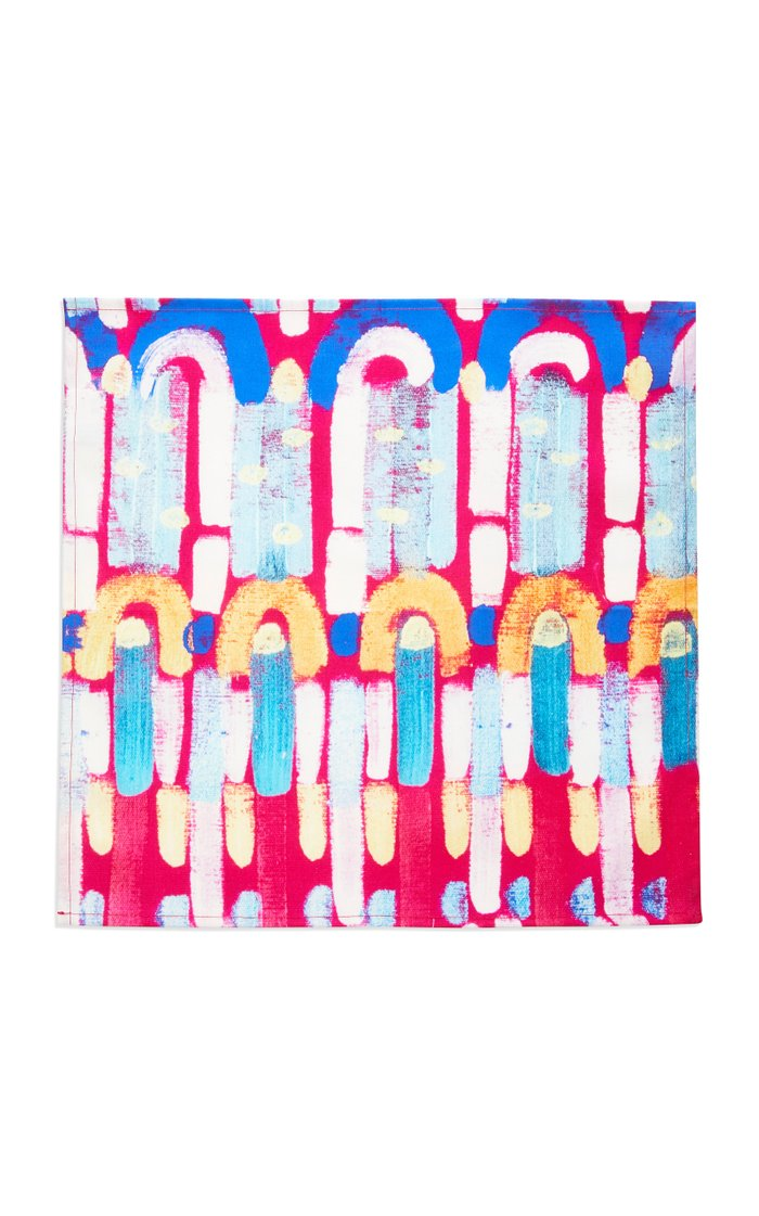 Set-of-4 Abstract Painted Linen Napkins