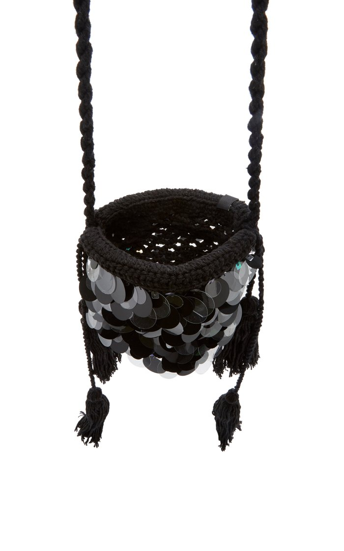 Oak Paillette-Embellished Macramé Crossbody Bag