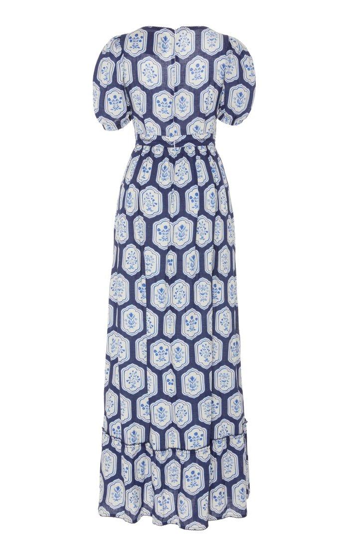 Pomelo Floral-Printed Linen Maxi Dress