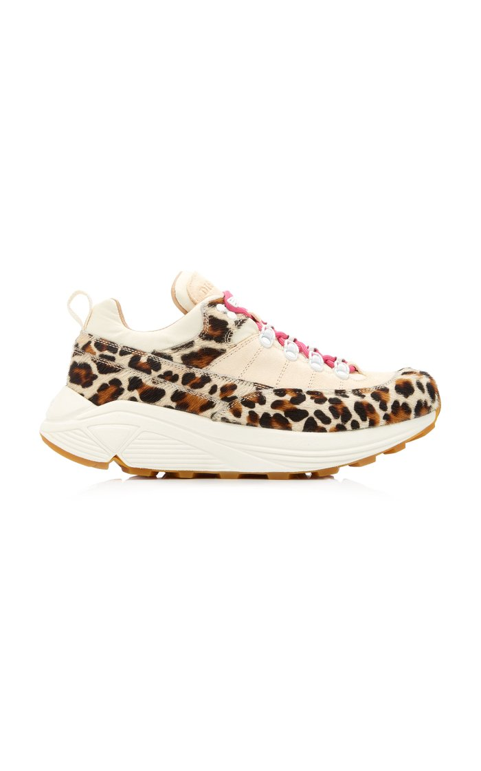 Monte Grappa Suede and Leopard-Print Calf Hair Sneakers