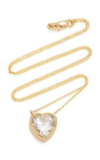 Tiny Heart 18K Gold and Topaz Necklace