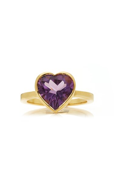 Large Heart 18K Gold and Amethyst Ring
