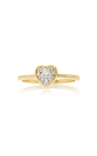 Tiny Heart 18K Gold and Topaz Ring