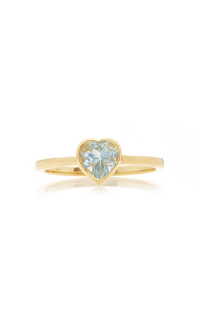 Tiny Heart 18K Gold and Topaz Ring