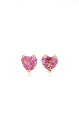Tiny Heart 18K Gold and Topaz Earrings