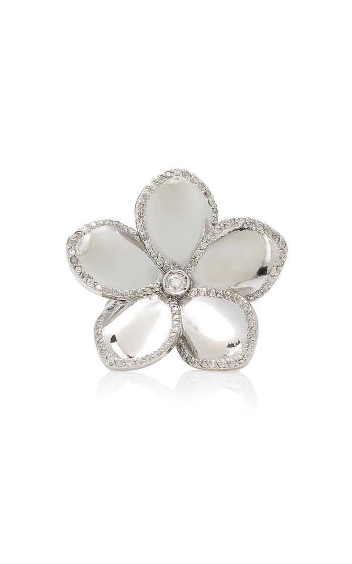 Plumeria Sterling Silver Diamond Ring