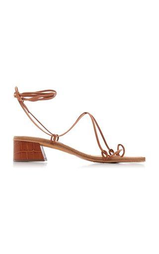 Cimarron Croc-Effect Leather Lace-Up Sandals