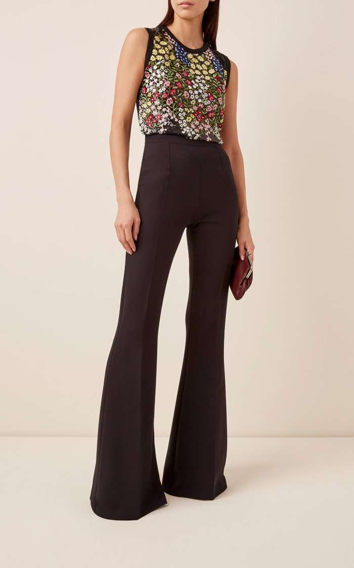 Halluana Crepe Flared Trousers