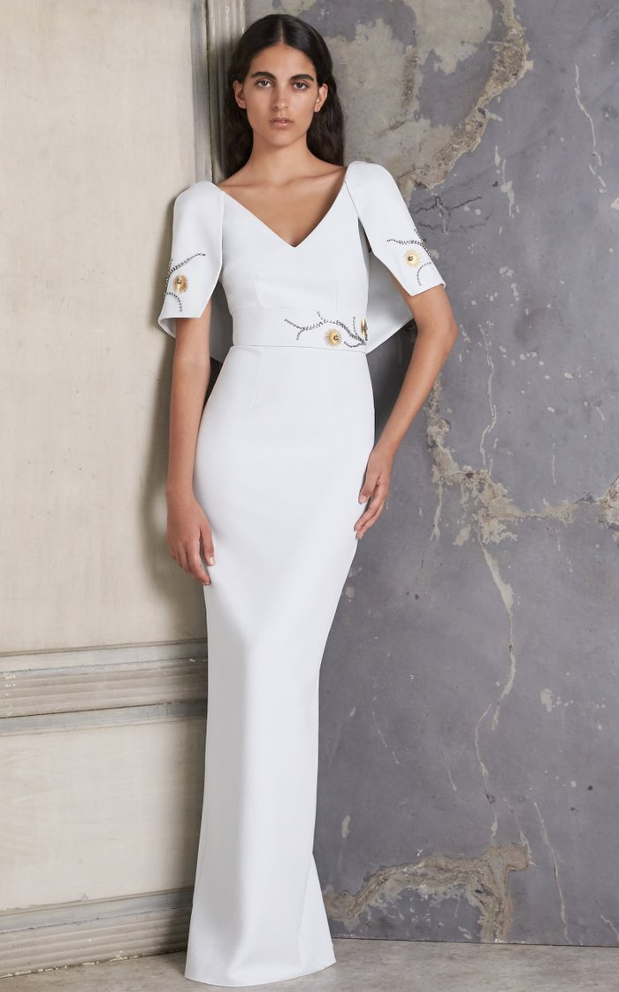 Aurora Embroidered Crepe Gown