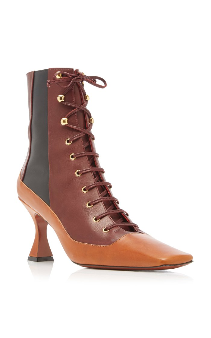 Duck Color-Block Leather Ankle Boots