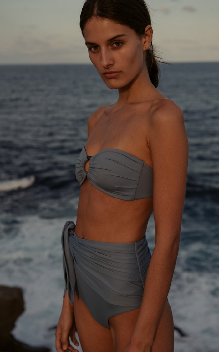 Bella Ruched High-Waisted Bikini Brief Bottom