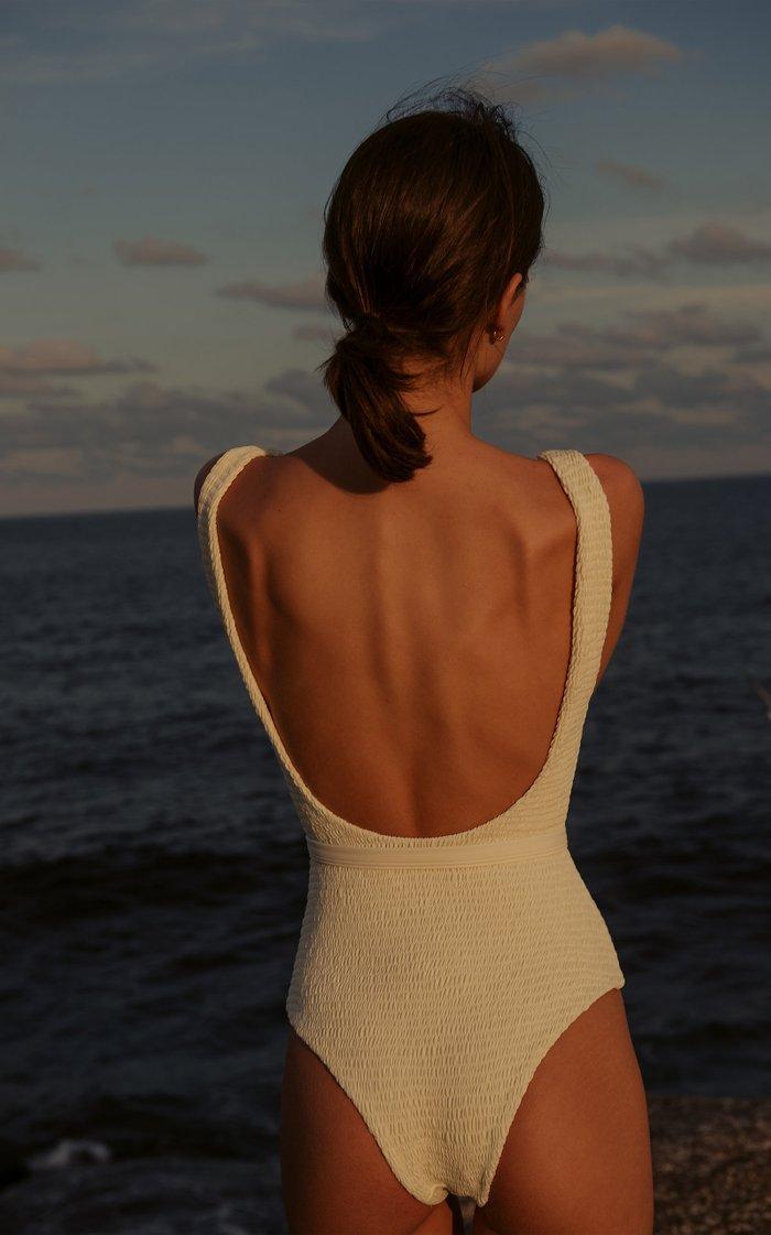 Maya Smocked Belted Swimsuit