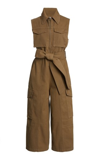 Belted Cotton-Blend Cropped Jumpsuit