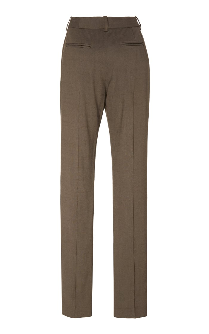 Ankle-Slit Twill Slim-Leg Pants