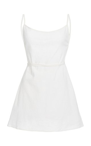 Back-Tied Linen and Cotton Mini Dress