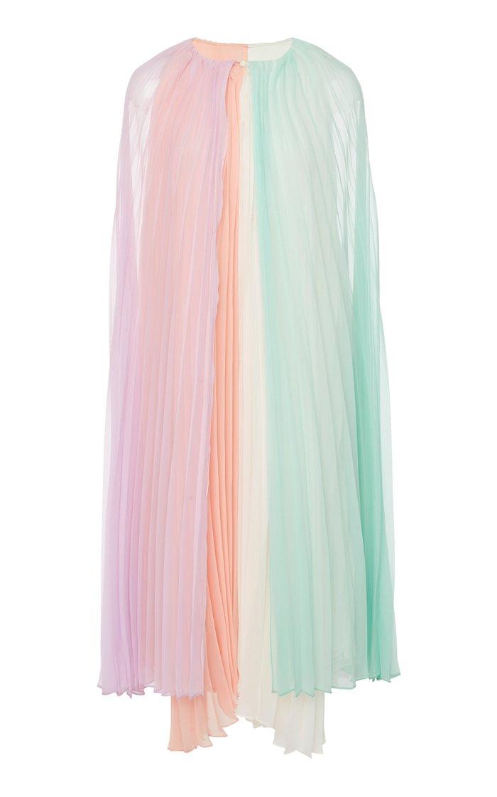 Cape Pleated Chiffon Dress