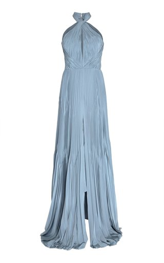 Ocean Pleated Evening Gown