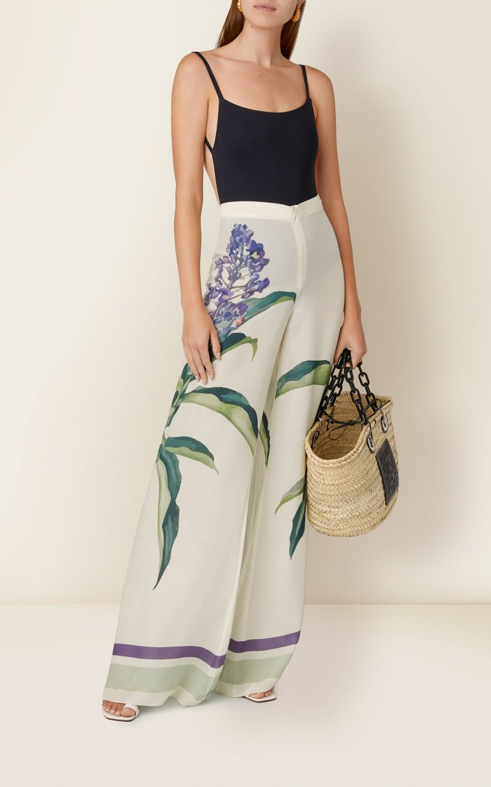Printed Stretch-Jersey Wide-Leg Pants