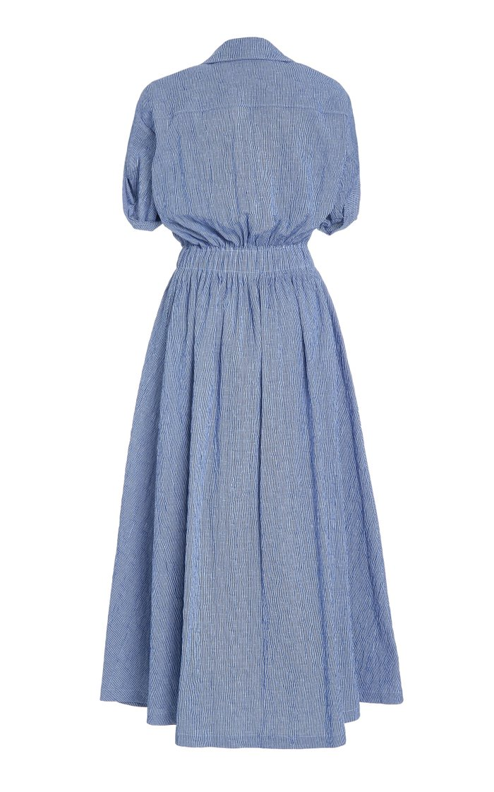 Shirred Cotton-Blend Gauze Midi Dress