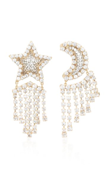 Fly Me To The Moon Mismatched Gold-Tone, Crystal And Pearl Earrings