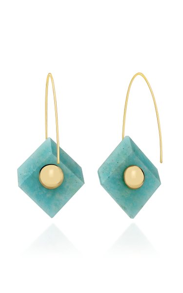 18K Gold And Amazonite Earrings