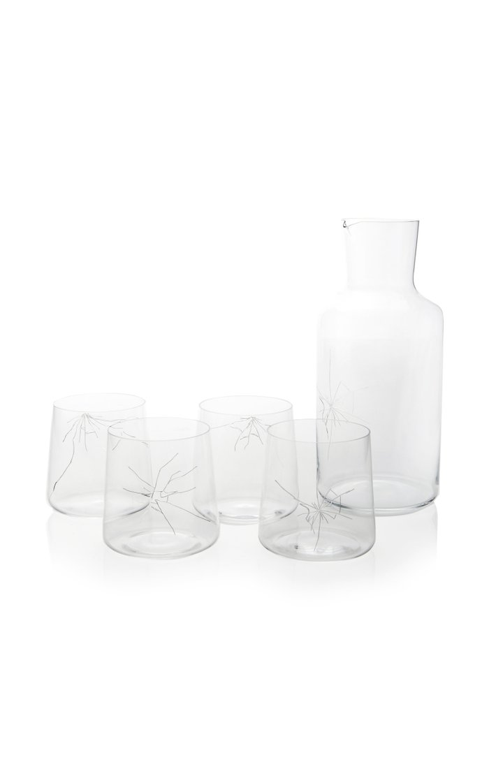 Crack Carafe And Set-of-4 Tumbler Set