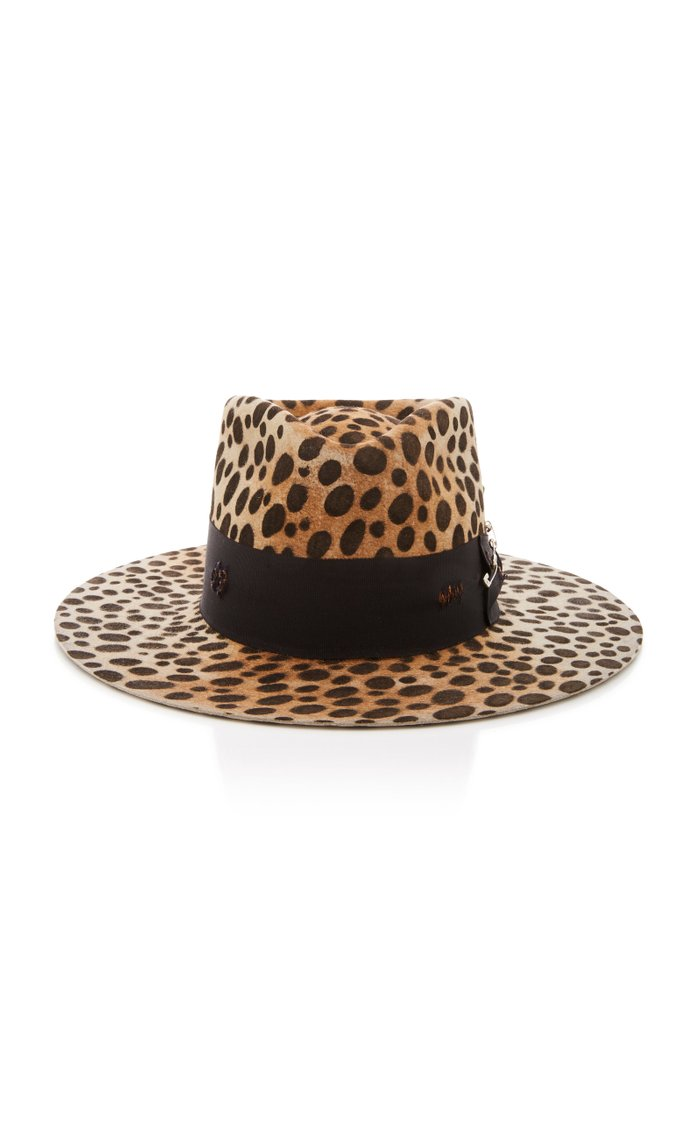 Lynx Printed Ribbon-Trimmed Felt Hat