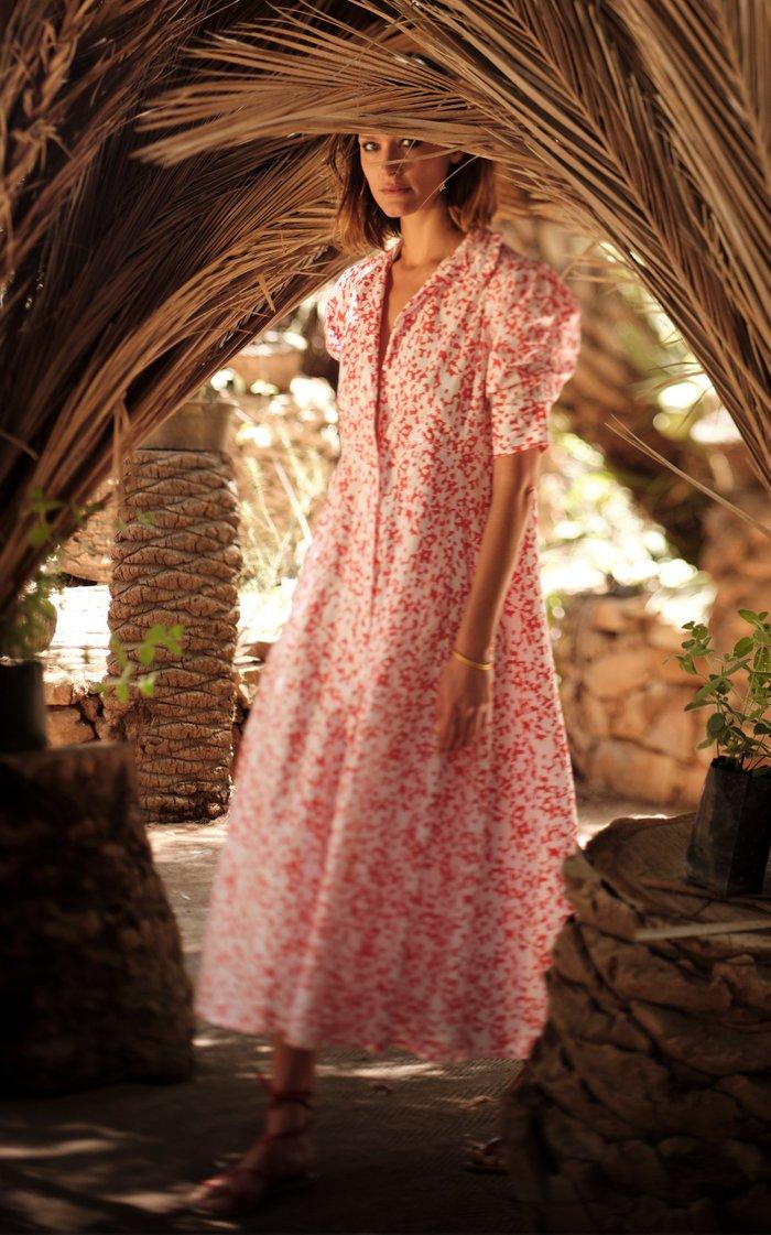 Venetia Floral-Print Cotton Midi Dress