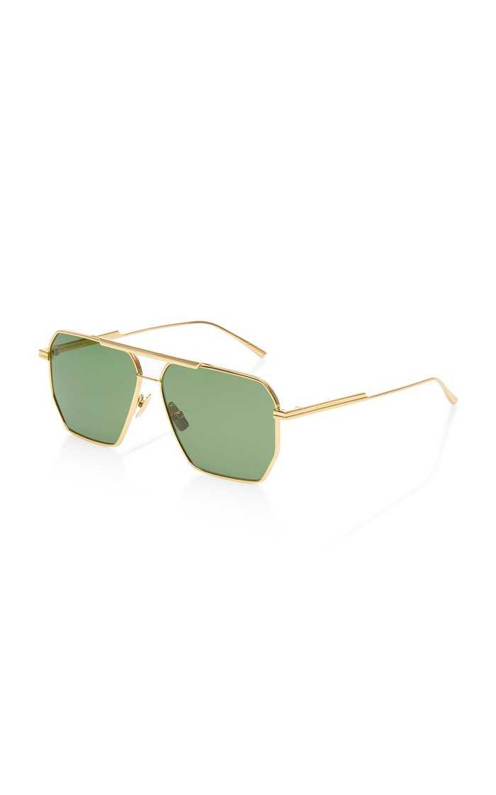 Square-Frame Aviator Metal Sunglasses
