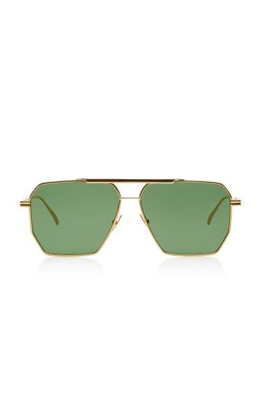 Square-Frame Aviator Metal Sunglasses