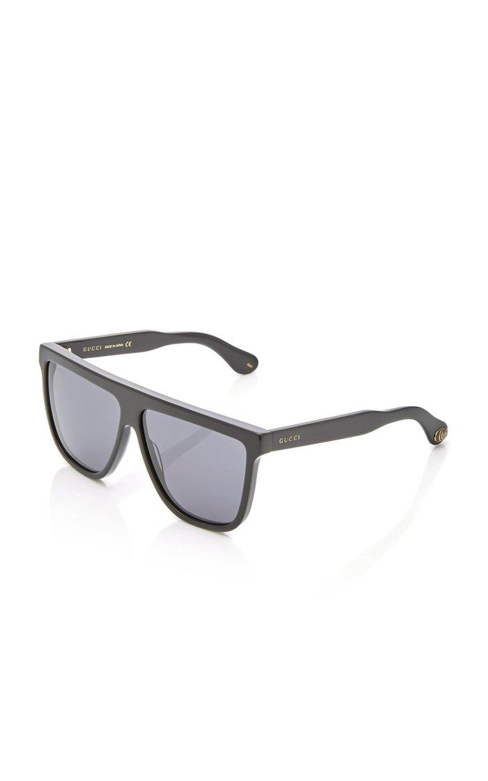 Guillochet Plaque Acetate Sunglasses