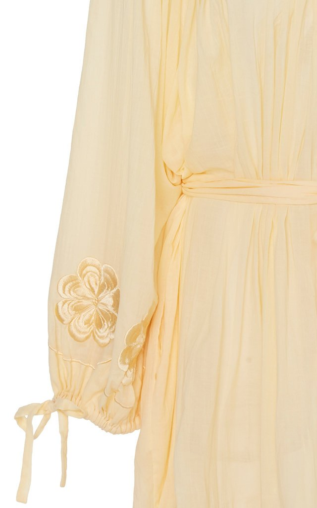 Frida Burds Off-The-Shoulder Cotton Dress