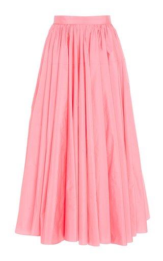Pleated Taffeta A-Line Skirt