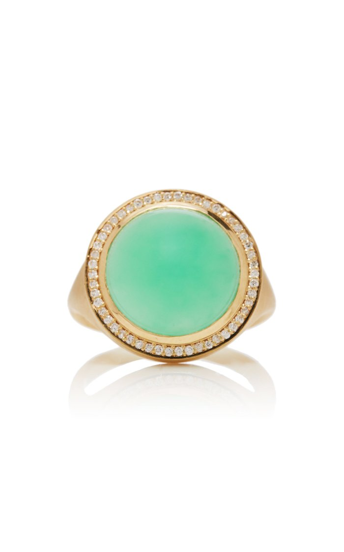 Chrysoprase and Diamond Lollipop Ring
