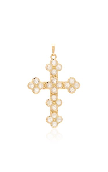 Cross 18K Gold and Moonstone Necklace