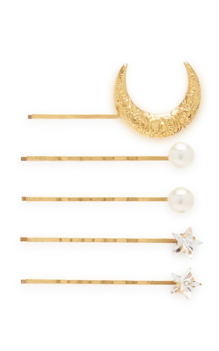 Oberon Set-Of-Five Gold-Tone, Crystal And Faux Pearl Hair Slides